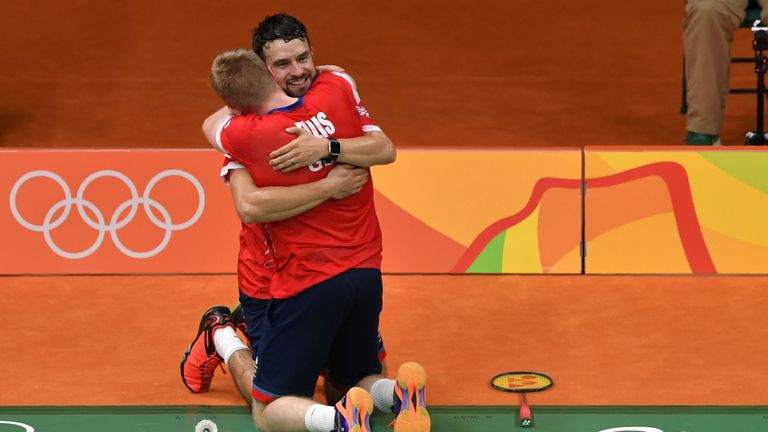 Marcus Ellis and Chris Langridge embrace after securing a semi-final berth