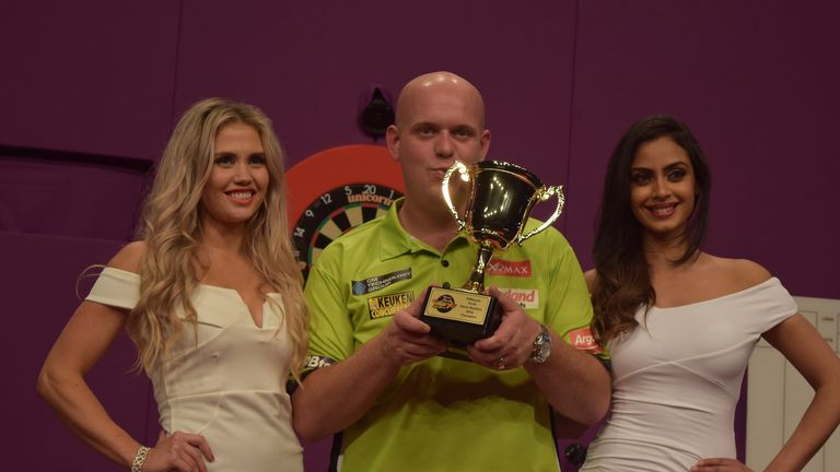 Michael van Gerwen celebrates with Perth Masters title