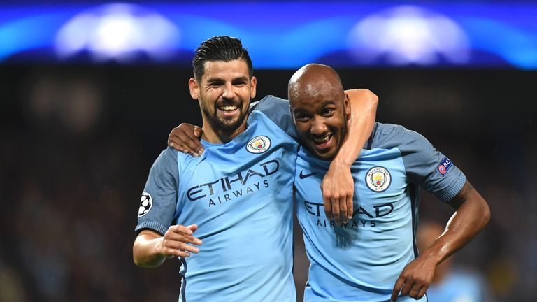 Fabian Delph (R) scored in his only start this season, a Champions League tie against Steaua Bucharest