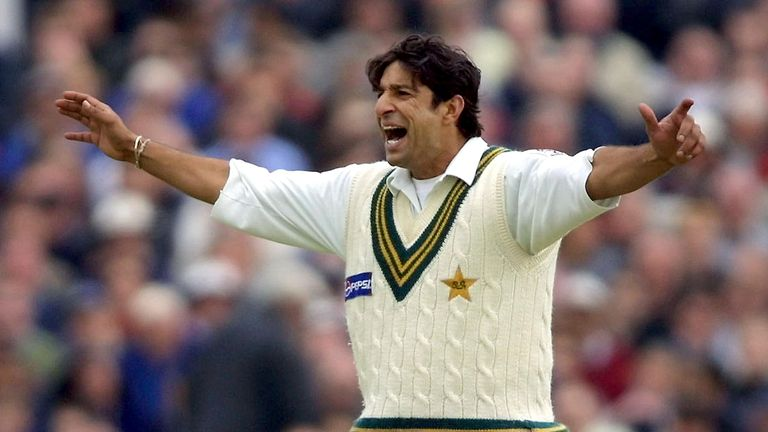 Pakistan bowler Wasim Akram celebrates one of his 414 Test wickets for Pakistan