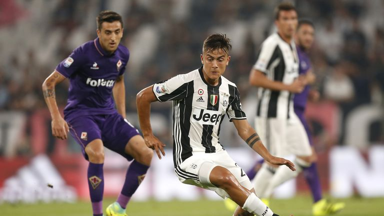 Juventus forward Paulo Dybala in action during their Serie A opener with Fiorentina
