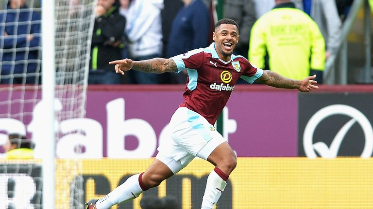 Andre Gray celebrates scoring Burnley's second goal