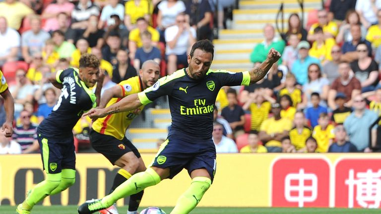 Santi Cazorla scores for Arsenal from the penalty spot