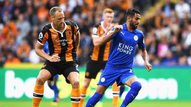 PFA Player of the Year Riyad Mahrez (R) was only involved on the fringes against Hull