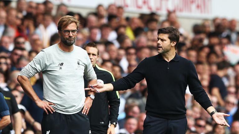 Tottenham's Pochettino (R) and Liverpool's Klopp are yet to win a trophy at their clubs