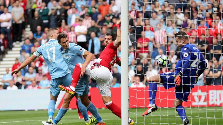 Alvaro Negredo scores the opening goal in Middlesbrough's 1-1 draw with Mark Hughes' side