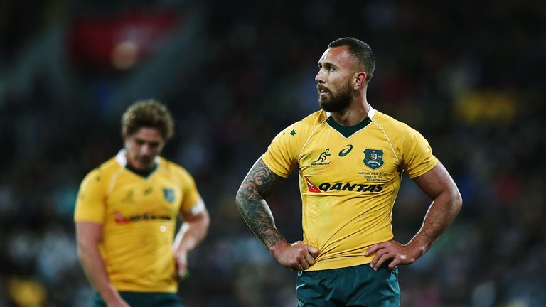 Quade Cooper of Australia looks on during the Rugby Championship match between the All Blacks and Wallabies in Wellington