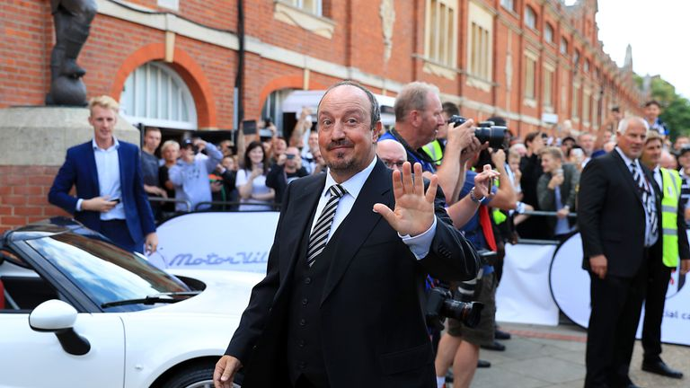 Newcastle boss Rafael Benitez arriving at the Sky Bet Championship match at Craven Cottage