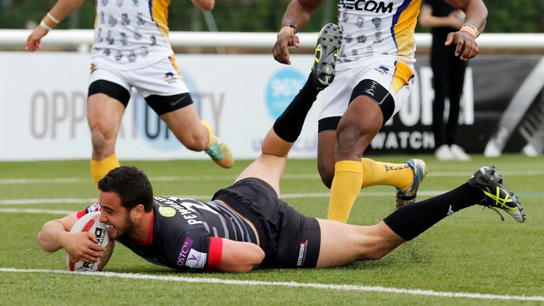 Pewhairangi dives over for his second of three debut tries against Whitehaven