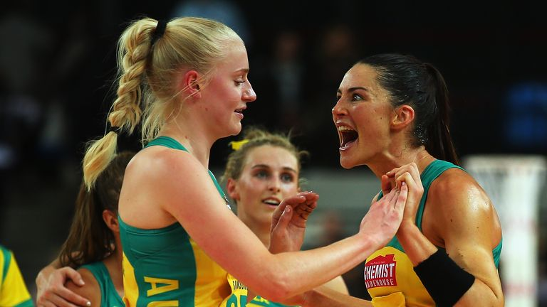 Layton playing for the Australian Diamonds before her retirement in July.