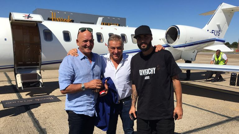 Simone Zaza (right) arrives in London for his medical with West Ham with his father Antonio and agent Vincenzo Morabito - picture credit Gianluca di Marzio