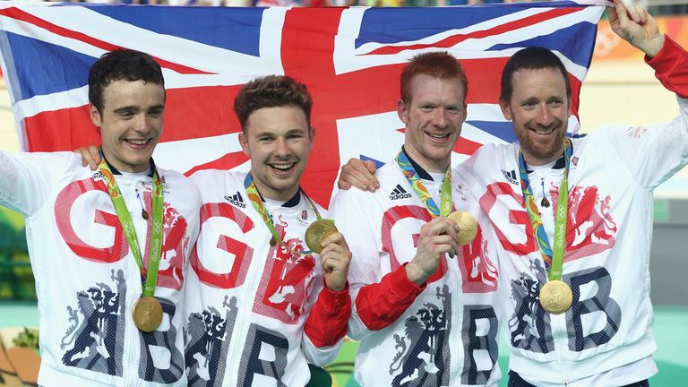 Frome left, Steven Burke, Owain Doull, Clancy and Sir Bradley Wiggins celebrate winning gold in Rio
