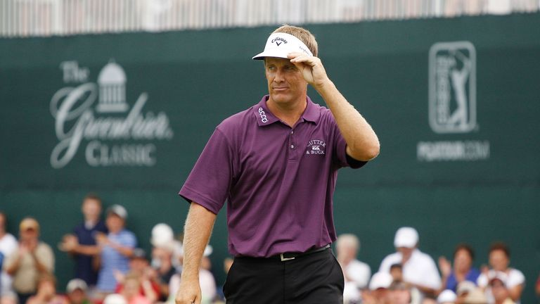 Stuart Appleby fired a closing 59 to win the Greenbrier Classic, less than a month after Goydos broke 60