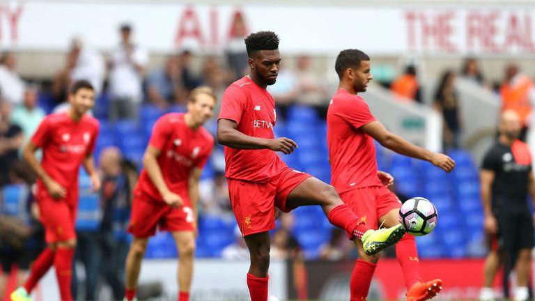 Daniel Sturridge warms up before Tottenham clash
