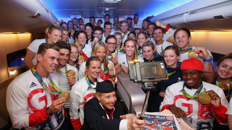 Team GB  returning from Rio Olympics after beating their target of 48 medals