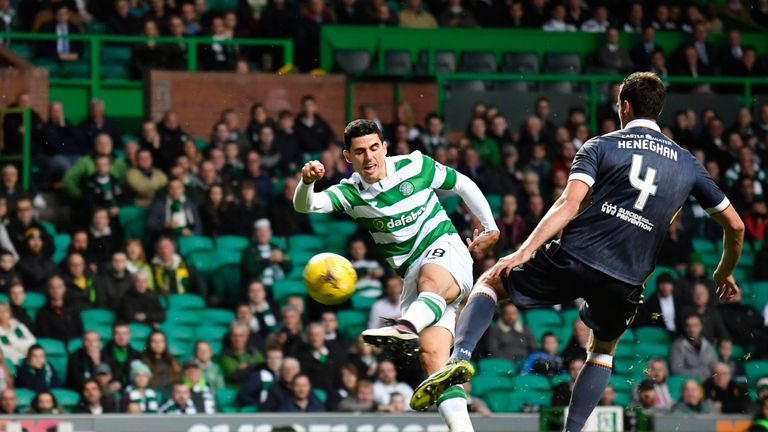 Tom Rogic opens the scoring against Motherwell in the Betfred Cup