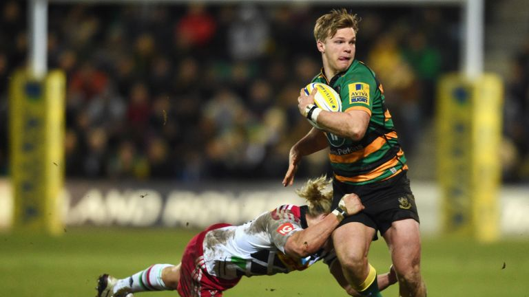 Northampton centre Tom Stephenson has broken his leg in two places