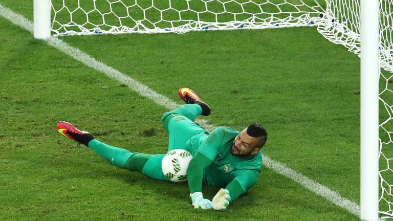 Brazil goalkeeper Weverton saved Grista Proemel's fifth penalty for Germany