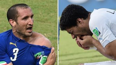 Italy defender Giorgio Chiellini was bitten by Uruguay forward Luis Suarez during their 2014 World Cup clash