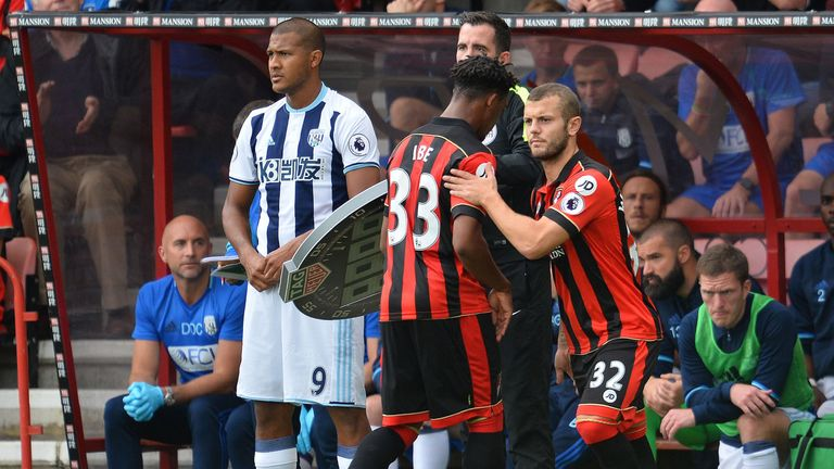 Ibe has been substituted in all 11 of his Premier League starts this season
