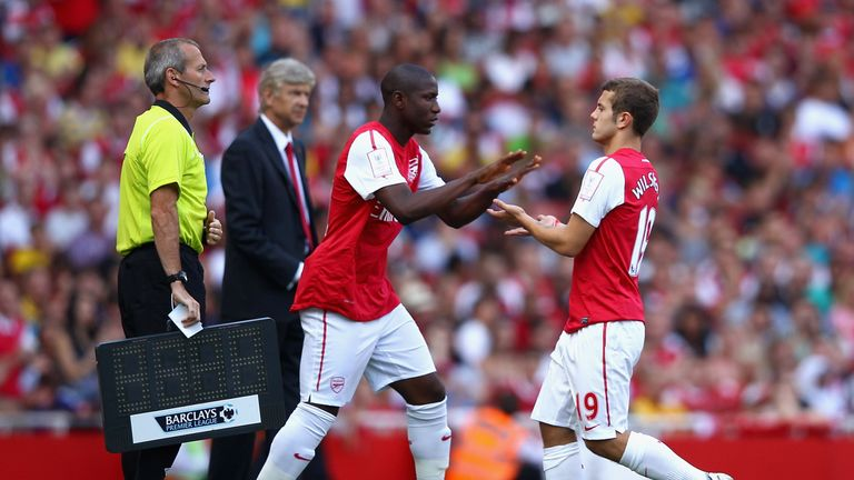 Benik Afobe comes on for Jack Wilshere while the pair were Arsenal team-mates