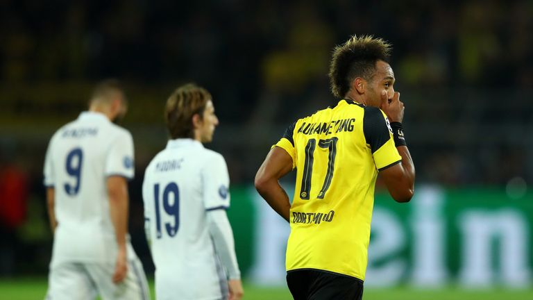Pierre-Emerick Aubameyang reacts after scoring for Dortmund against Real Madrid