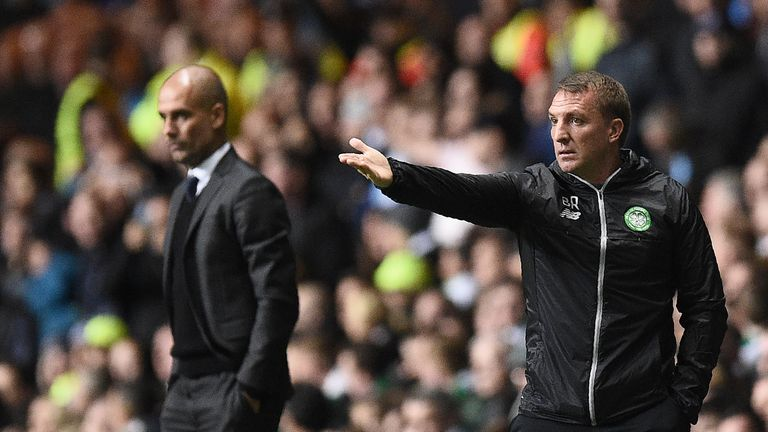 Brendan Rodgers faced Pep Guardiola's City as Celtic boss in the Champions League during the Spaniard's first season in charge