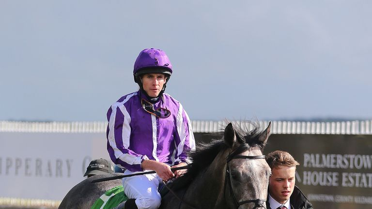Capri ridden by Ryan Moore in the parade ring after winning the Juddmonte Beresford Stakes