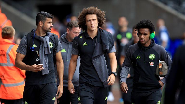 David Luiz (centre) was an unused substitute for Chelsea