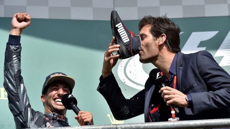 Ricciardo got Mark Webber involved on the podium at the Belgian GP
