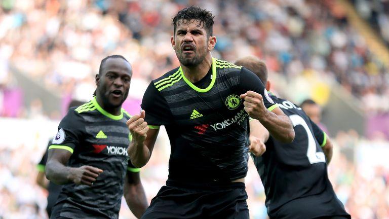 Costa celebrates Chelsea's equaliser