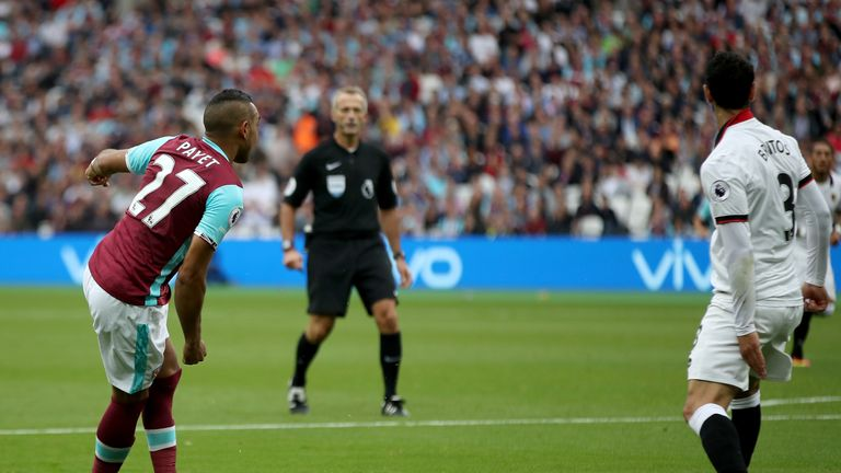 West Ham United's Dimitri Payet (left) set up Michail Antonio in spectacular fashion on Saturday