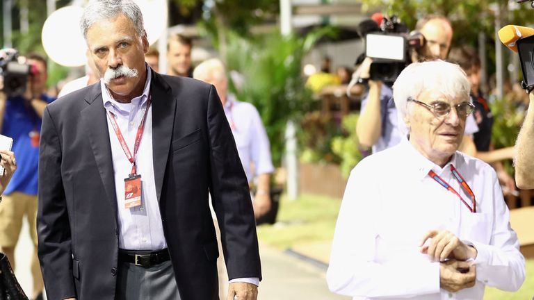 Chase Carey (left) will offer Ecclestone the role of honorary president