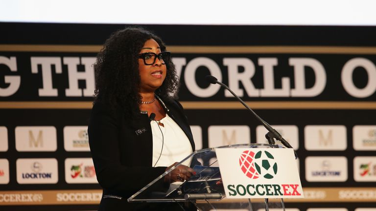 Samoura gives a speech at the Soccerex convention in Manchester