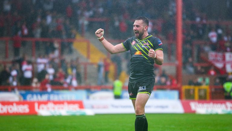 Leigh's Gregg McNally celebrates the win