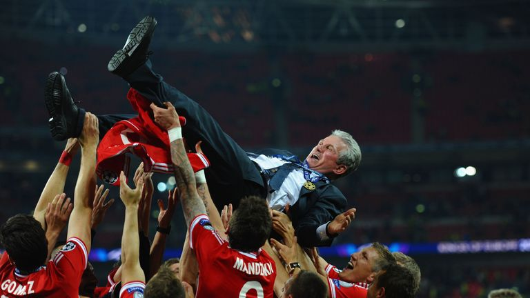 Heynckes is thrown into the air by his Bayern Munich players after winning the Champions League final