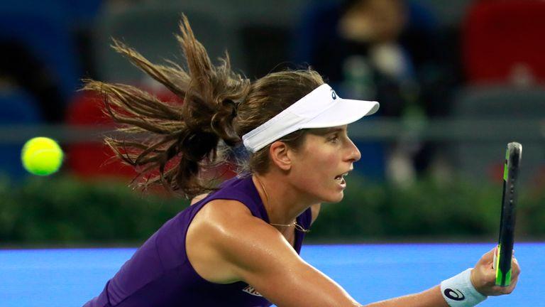 Johanna Konta in action against Petra Kvitova in the Wuhan Open