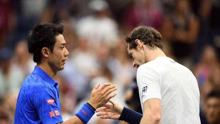 Murray congratulates Nishikori at the end of their US Open quarter-final slug-fest