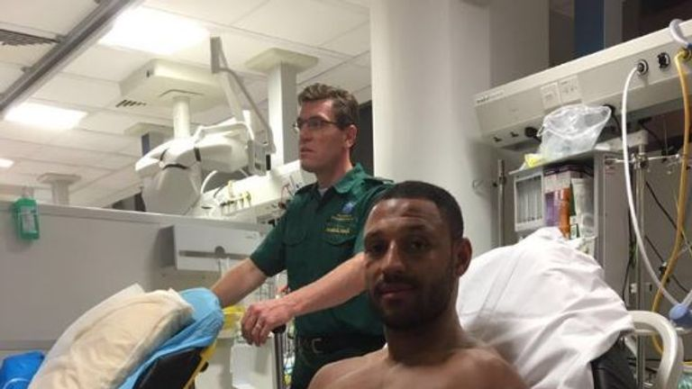 Kell Brook (pic from @EddieHearn) went under the knife after defeat to Golovkin
