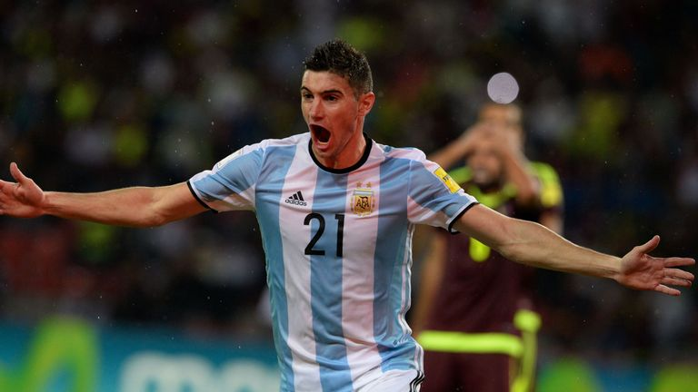 Argentina's Lucas Alario celebrates after a teammate scored against Venezuela