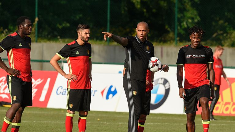 Belgium's national team assistant coach Henry gets a closer look at Lukaku and team-mates in training