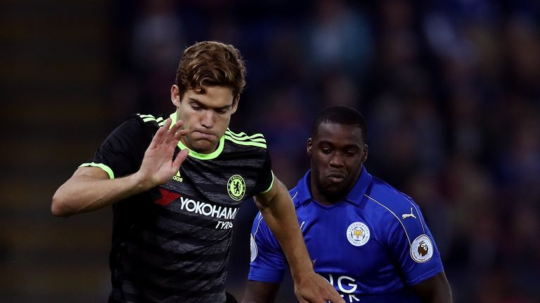 Marcos Alonso in action against Leicester