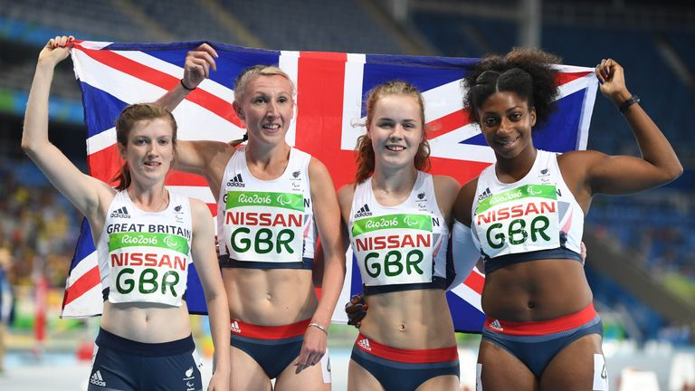 Cox (R) was part of GB's 100m T35-38 relay team who won silver