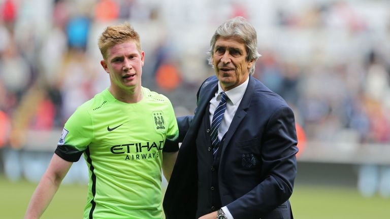 Manuel Pellegrini (R) signed De Bruyne (L) from Wolfsburg for £54.5m in the summer of 2015