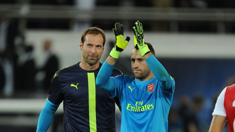 David Ospina (R) was preferred in goal to Petr Cech for Arsenal's trip to PSG