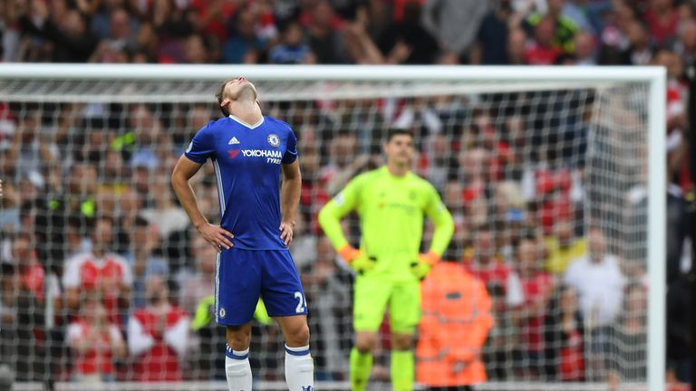 Gary Cahill looks to the sky after Arsenal score