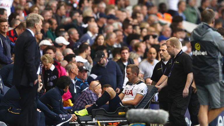 Harry Kane is stretched off late on at White Hart Lane