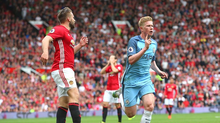 Kevin De Bruyne celebrates scoring for Manchester City in last season's derby at Old Trafford