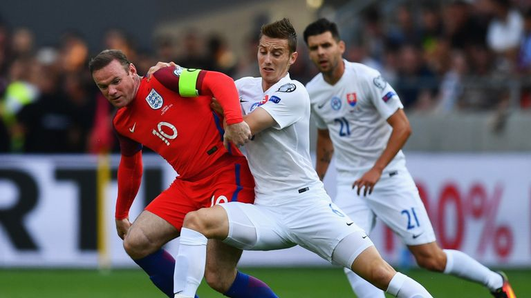 Wayne Rooney started in midfield as he became England's most capped outfield player
