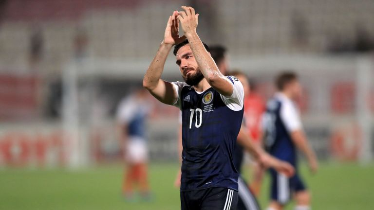 Robert Snodgrass scored a hat-trick for Scotland in Malta in September